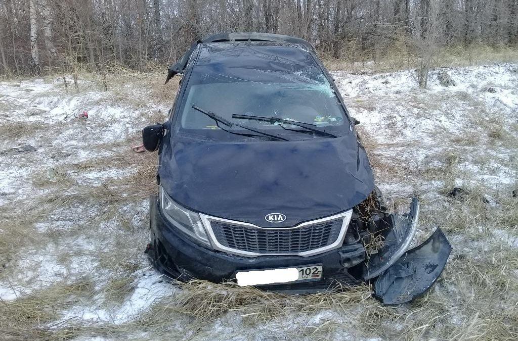В Челябинской области из-за сильного ветра иномарка улетела в кювет