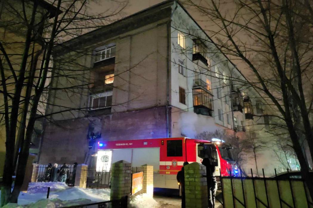 Пожар в Челябинске на проспекте Ленина