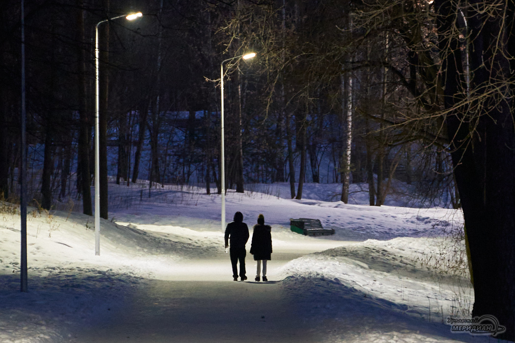 аллея парк зима фонарь люди