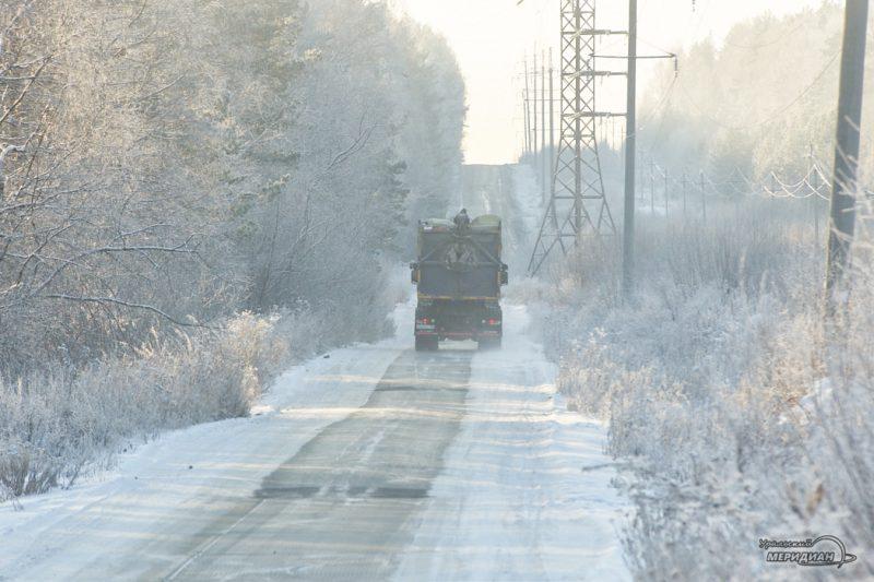 Зима снег мороз ломовоз мусоровоз дорога