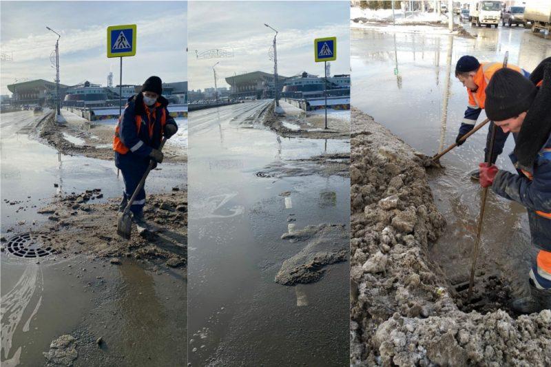 Из-за аномального потепления в Челябинске на дорогах скопилась талая вода