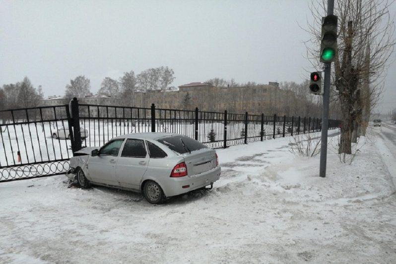 Въехал в забор + машина + авария