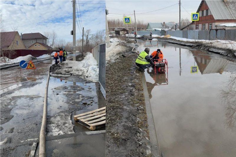 Затопленную дорогу в микрорайоне ШаголЧВВАКУШ начали откачивать