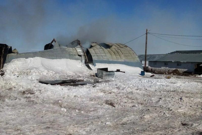На Урале 27 пожарных тушили загоревшийся ангар с баллонами