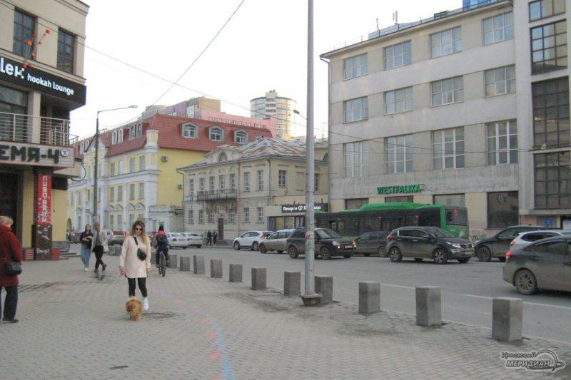 ulitsa 8 marta zhenschina narod lyudi sobaka perekrestok