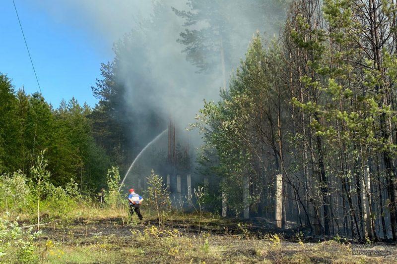 Тушение пожара в лесу дым мчс забор