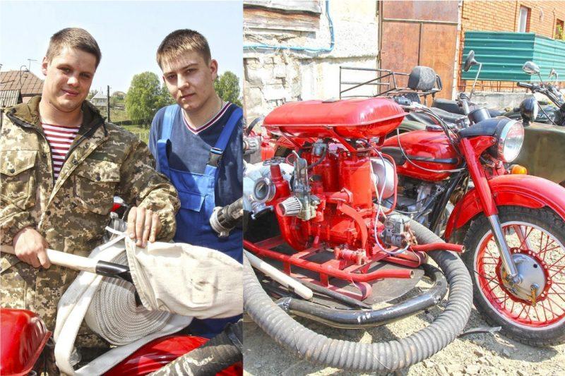 Южноуралец тушит пожары на мотоцикле Урал