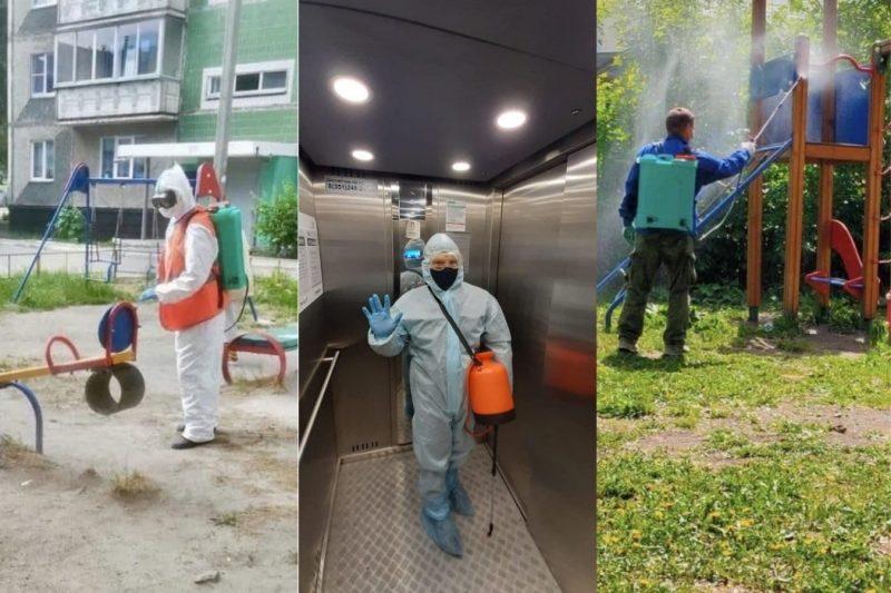 В Челябинске вновь дезинфицируют лифты перила дверные ручки из-за ковида