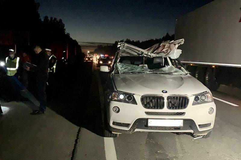 На ЕКАД в ДТП со сбитым водителем Opel лосём погиб водитель BMW X3