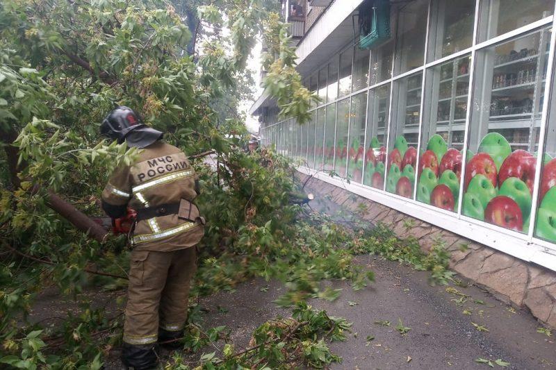 В Екатеринбурге шквалистый ветер покорежил машины