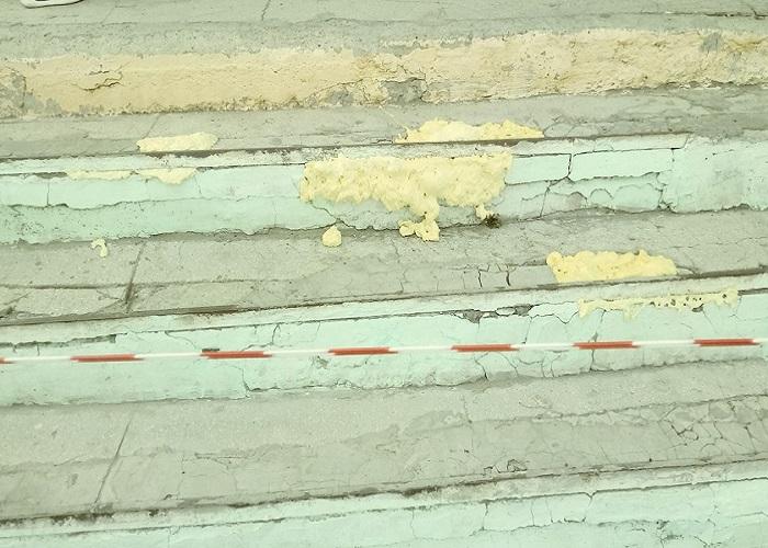 В Курганском лицее к 1 сентября починили крыльцо монтажной пеной