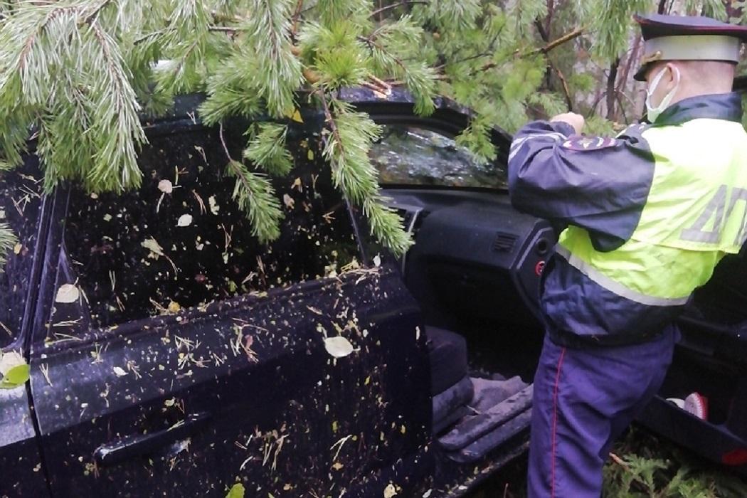 В ДТП на Серовском тракте Hyundai опрокинулся в кювет при обгоне