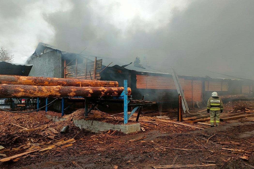 В Карпинске загорелось деревообрабатывающее предприятие