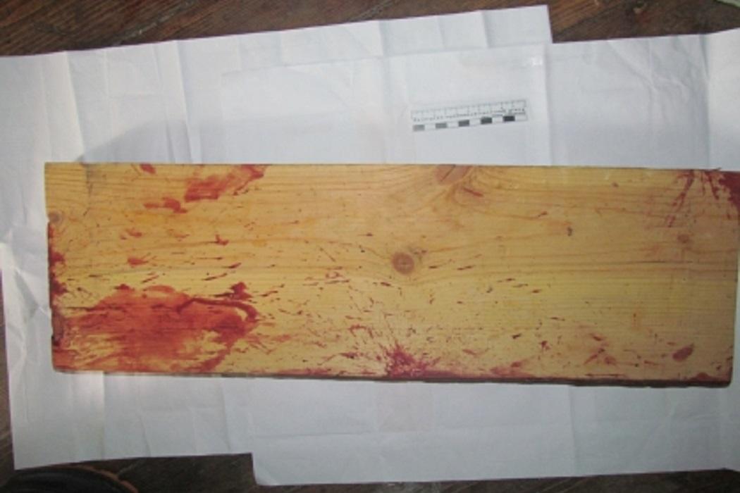 Деревянная доска + доска + убийство + кровь + место происшествия + осмотр места происшествия + ОМП