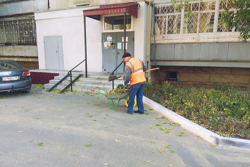 Уборка + осень + дворник + уборка мусора + субботник + листья + опавшие листья + метал + подъезд + дом